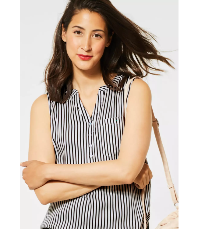 Street One Blousetop with Stripes - White