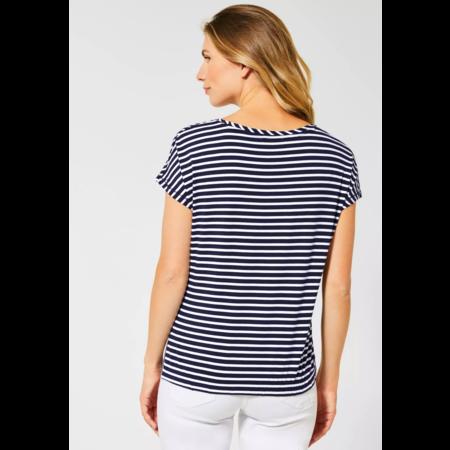 Cecil T-Shirt mit Streifenmix - Deep Blue