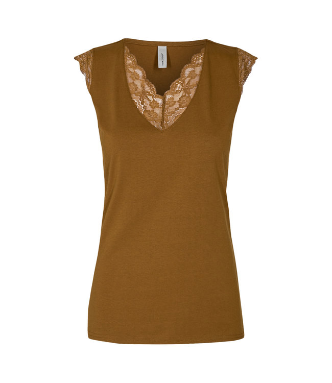 Soyaconcept Top with Lace Pylle 236 - Dark Caramel