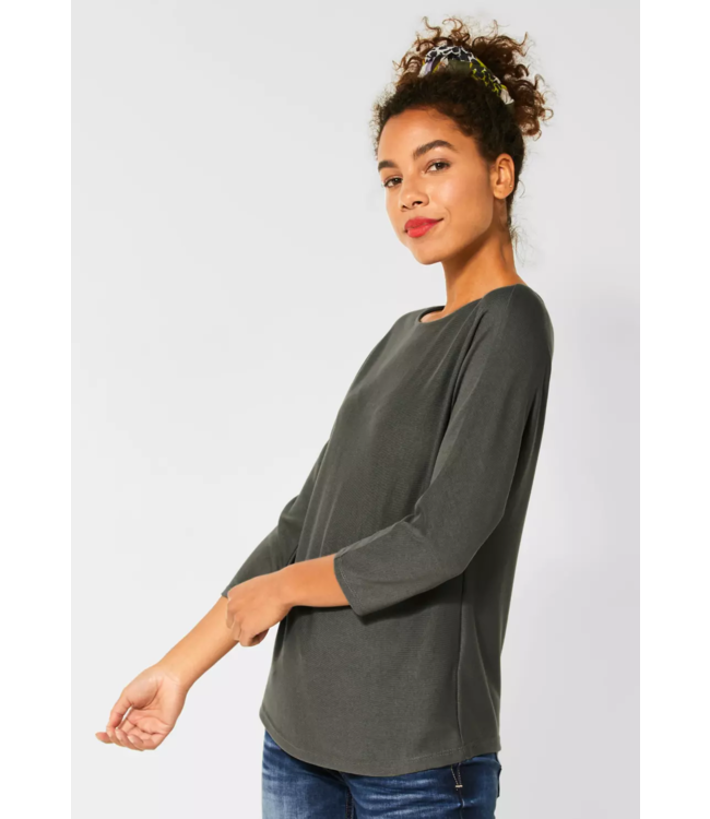 Street One Sweater with Batwing Sleeves - Shady Olive