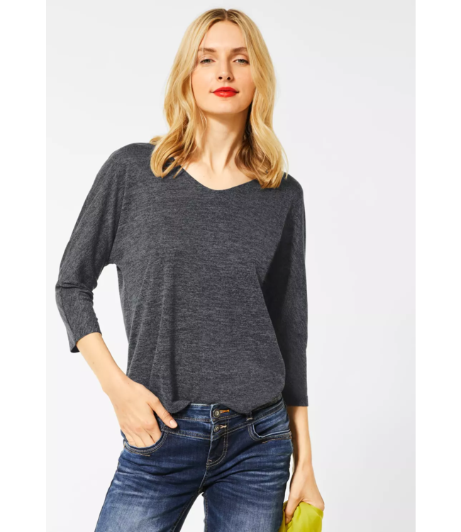 Street One Shirt with Structured Look - Prime Anthracite Melange