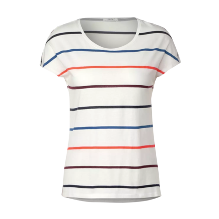 Cecil T-Shirt with Colorful Stripes - Pure Off White