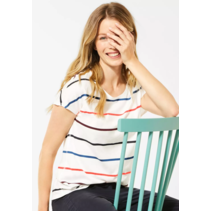 T-Shirt with Colorful Stripes - Pure Off White
