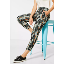Loose Fit Pants with Camouflage Print Bonny - Shady Olive