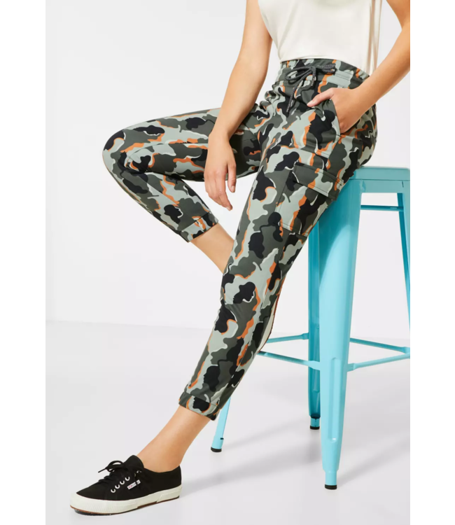 Street One Loose Fit Pants with Camouflage Print Bonny - Shady Olive