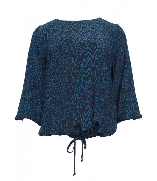 Elvira Collections Bluse Lianne - Animal Print Jeans Blue
