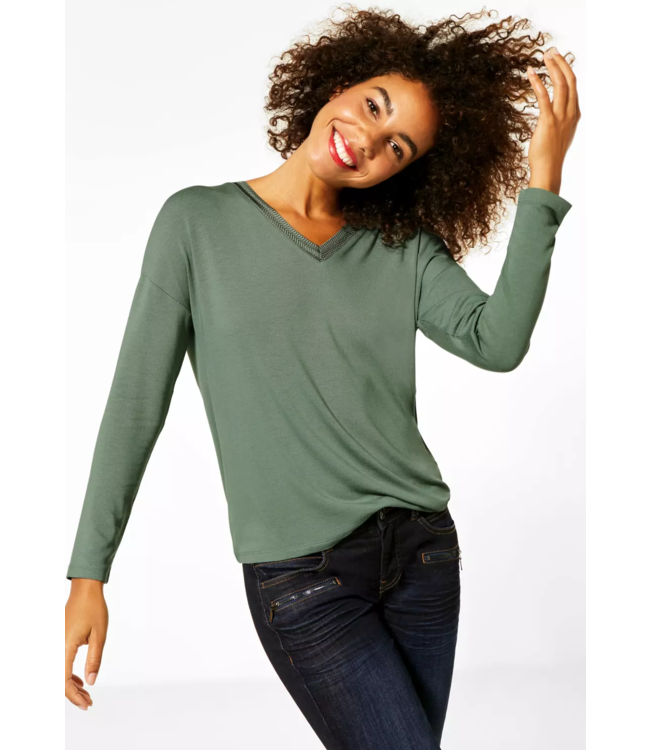 Street One Shirt with Embroidery at V-Neck - Rich Celadon