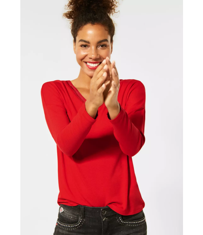 Street One Shirt with Embroidery at V-Neck - Blazing Red