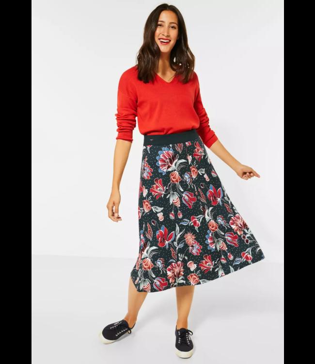Street One Midi-Skirt wiht Floral Print - Endless Green