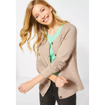 Cardigan with Structure and Buttons - Soft Camel Melange