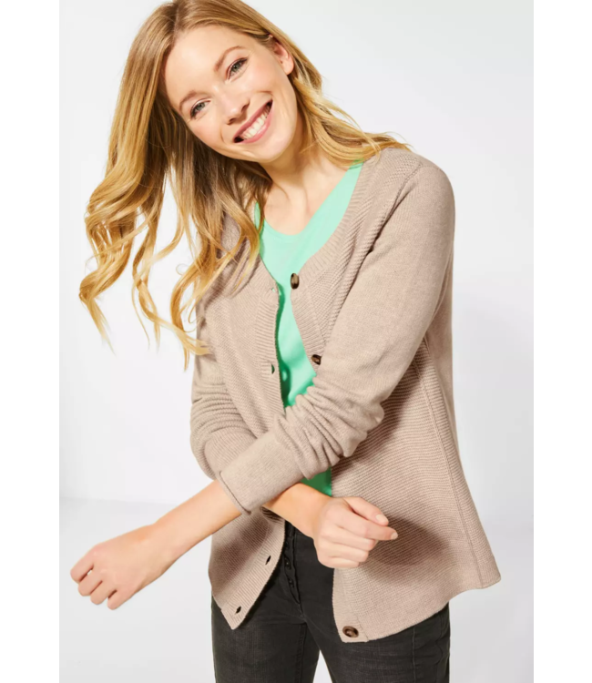 Cecil Cardigan with Structure and Buttons - Soft Camel Melange