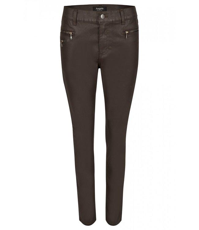 Angels Jeanswear Malu Jeans Zip Coated Look - Dark Chocolate