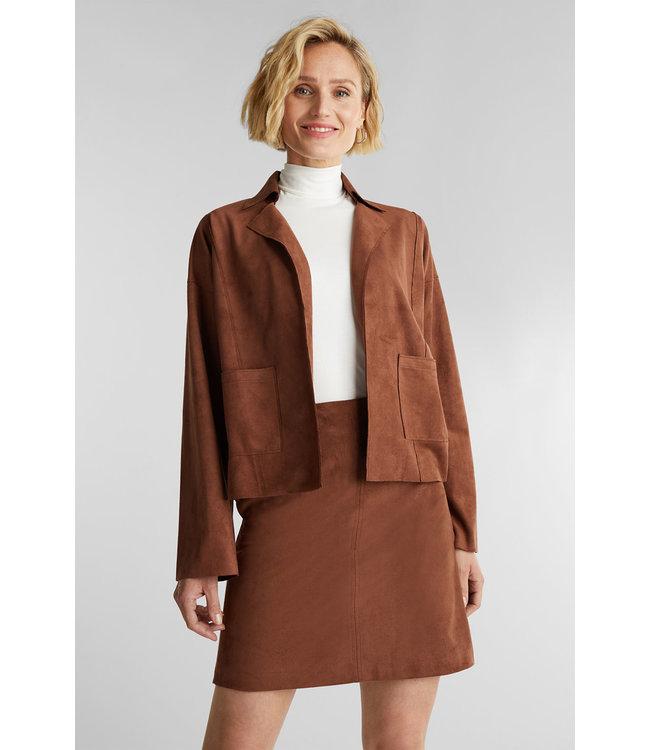 Esprit Recyled: Jacket Imitation Suede Look - Brown