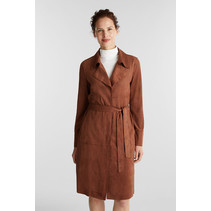 Recyled: Coat Imitation Suede Look - Brown