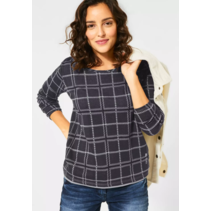 Jacquard Sweater with Checkered Print - Carbon Grey