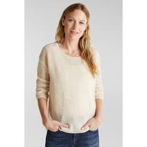 With Wool / Alpaca : Round Neck Sweater - Sand