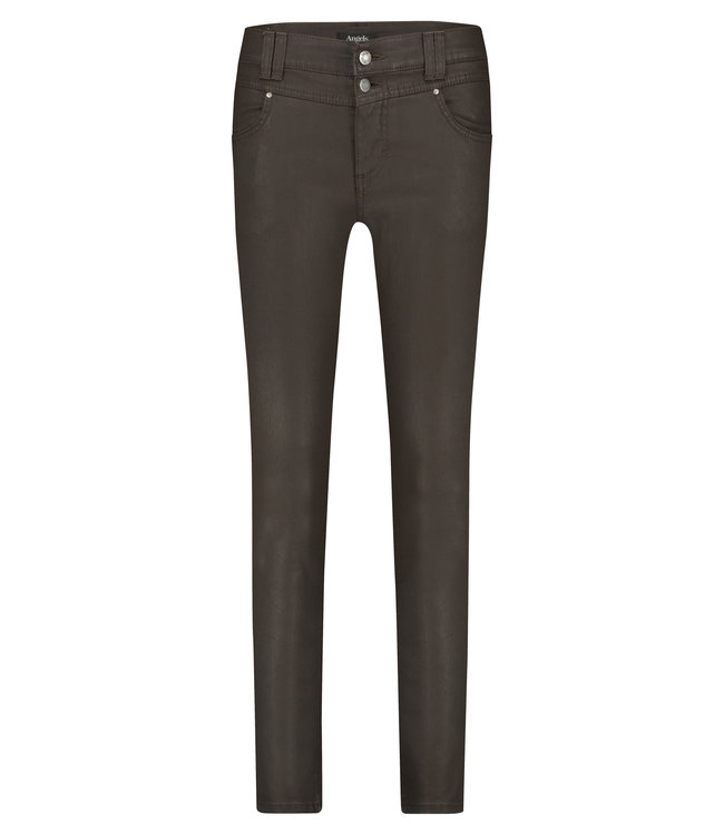 Angels Jeanswear Skinny Button Coating - Brown