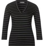 Street One Geribbeld Shirt met Strepen - Black