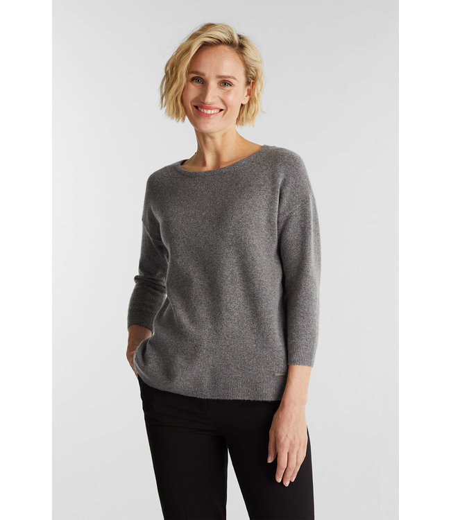 Esprit Knitted Sweater with Wool - Gunmetal
