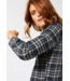 Cecil Blouse with Check - Mocca Brown
