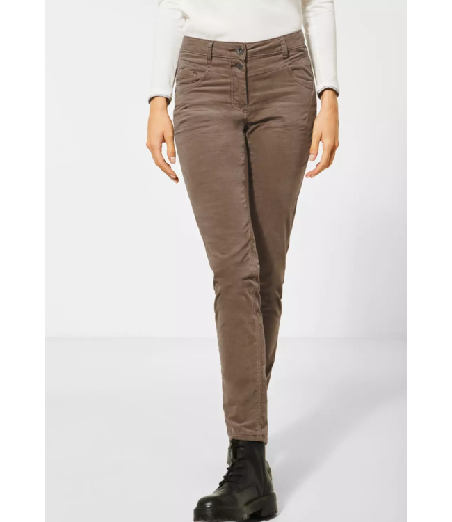 Cecil Pants with Velvet Look Vicky - Misty Mocca Brown