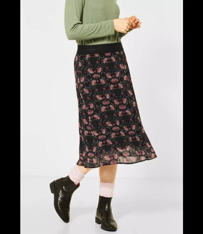 Street One Chiffon Midi-Skirt wiht Floral Print - Black