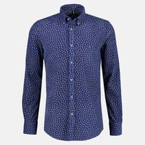 Fijncord Overhemd met Allover Print - Mid Blue