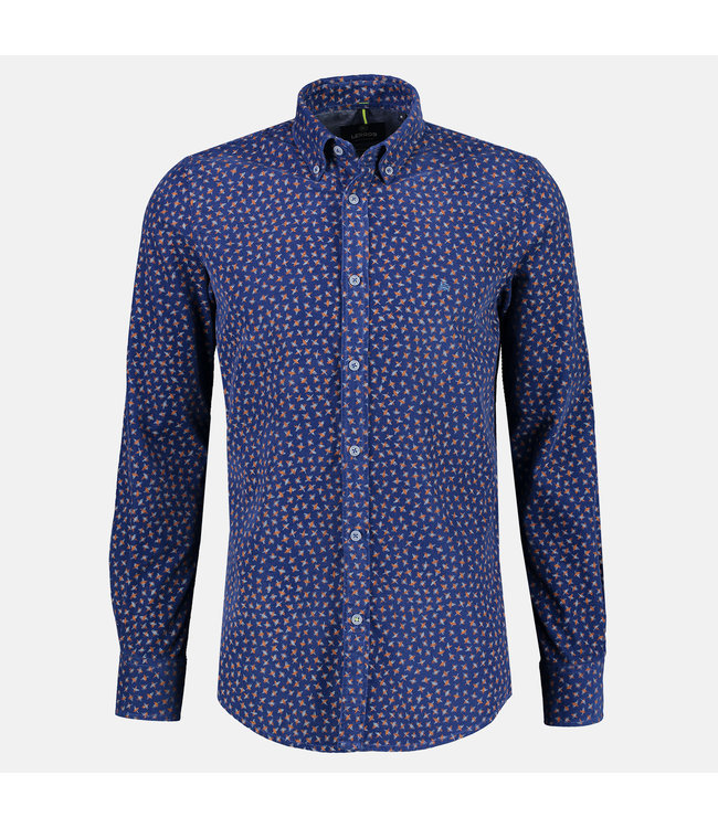 Lerros Corduroy Shirt with Print - Mid Blue
