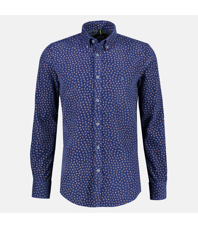 Lerros Fijncord Overhemd met Allover Print - Mid Blue