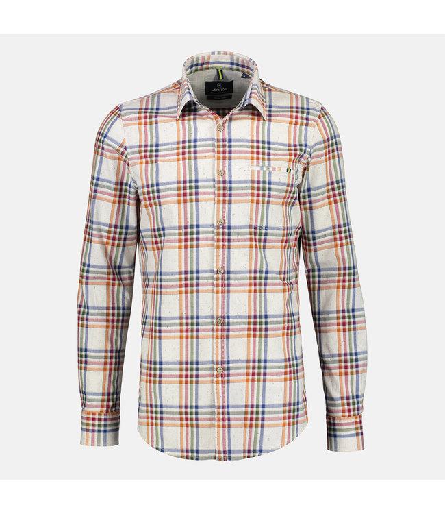 Lerros Longsleeve Shirt with Checkered Print - White