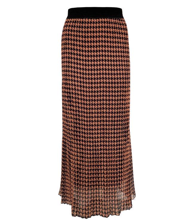 Elvira Collections Pleated Skirt Floor - Pied de Poule Camel