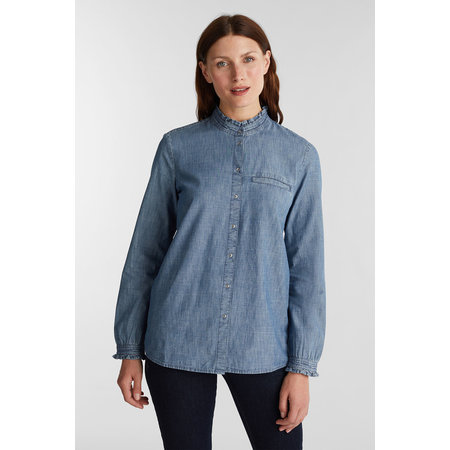 Esprit Chambray Blouse - Grey Blue