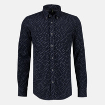 Fijncord Overhemd met Allover Print - Dark Navy