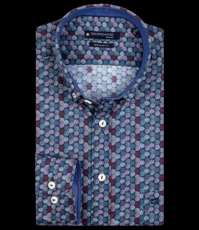 Giordano Shirt with Print - Dark Navy