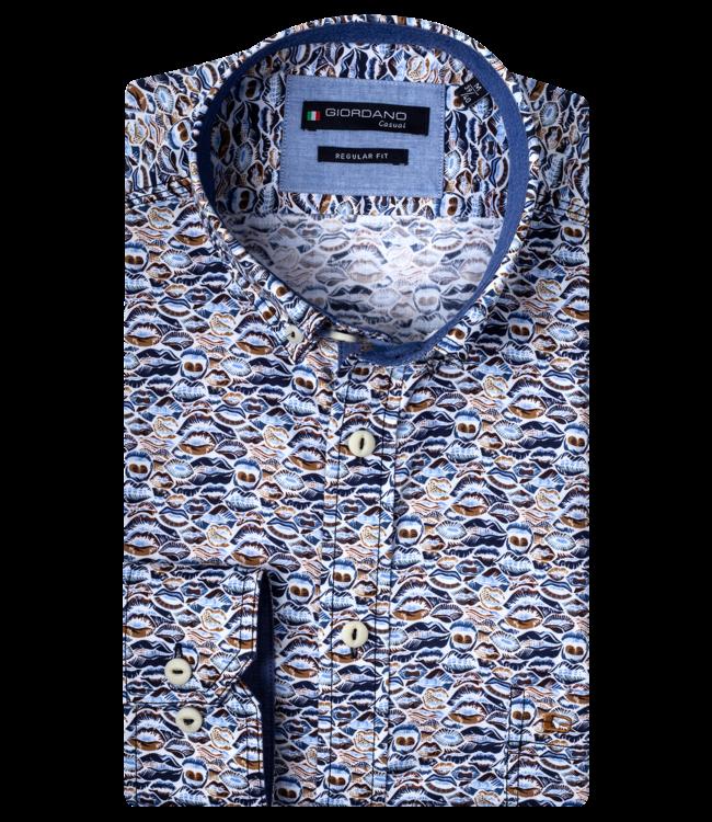 Giordano Overhemd met Zoenen - Dark Brown