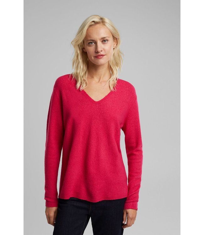 Esprit With Wool: Sweater with V-Neck - Pink Fuchsia