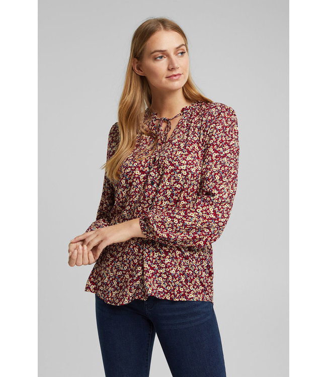 Esprit Floral Blouse from LENZING™ ECOVERO™ - Navy