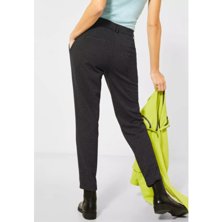 Cecil Jersey Broek in Casual Fit Tracey - Black