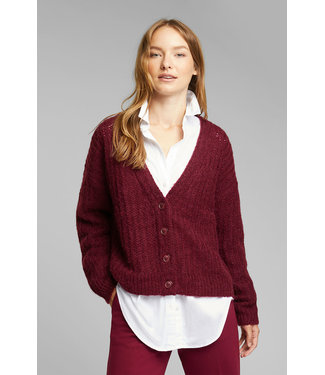 Esprit Met Alpaca: Vest met Breipatroon - Bordeaux Red