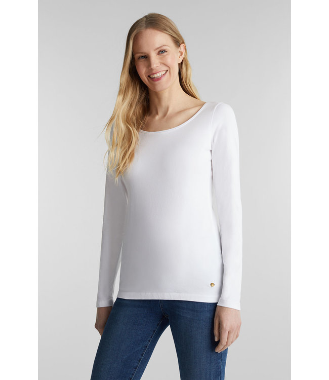 Esprit Basic Longsleeve with Stretch  - White