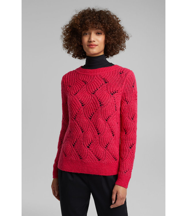 Esprit With Wool and Alpaca: Pullover - Pink Fuchsia