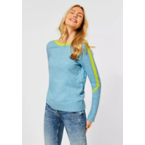 Cosy Sweater with Colorkick - Sporty Sky Blue Melange