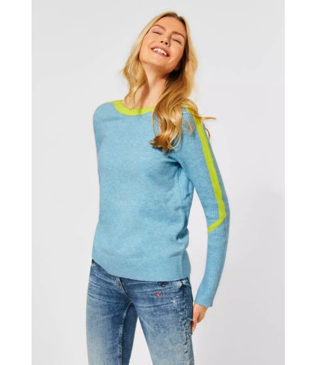 Cecil Cosy Sweater with Colorkick - Sporty Sky Blue Melange