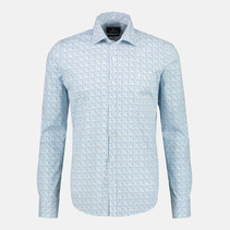 Stretch Overhemd met Haaien Kraag - Washed Blue