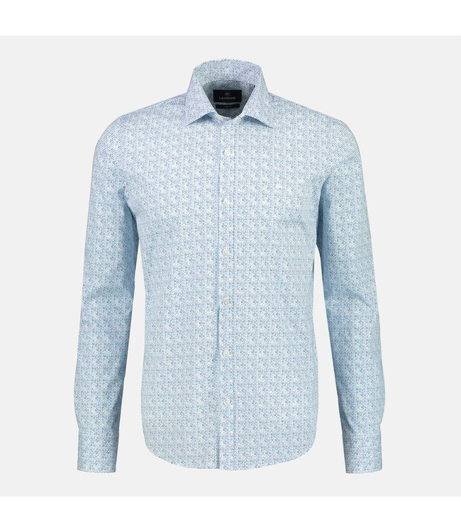 Lerros Stretch Shirt with Shark Collar - Washed Blue
