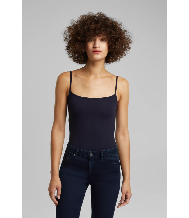 Esprit Stretch Top with Adjustable Spaghetti Straps - Navy