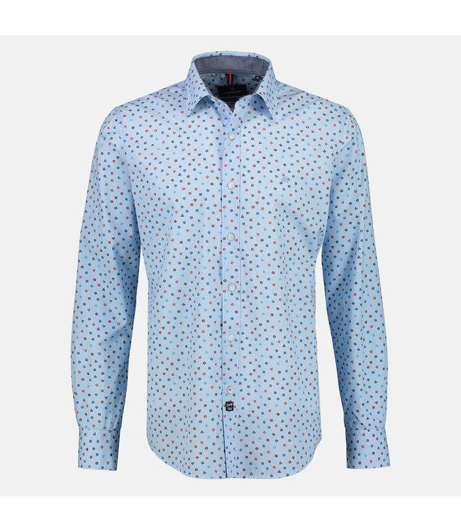 Lerros Langarm Hemd mit Minimal Print - Sky Blue