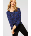 Cecil Tunic Shirt with Flowers - Deep Blue
