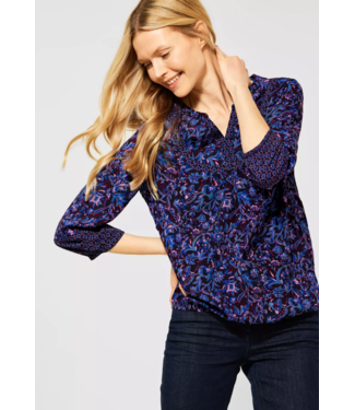 Cecil Blouse with Floral Printmix - Deep Blue