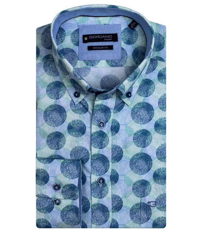 Giordano Button-Down Shirt with Allover Print - Dark Green